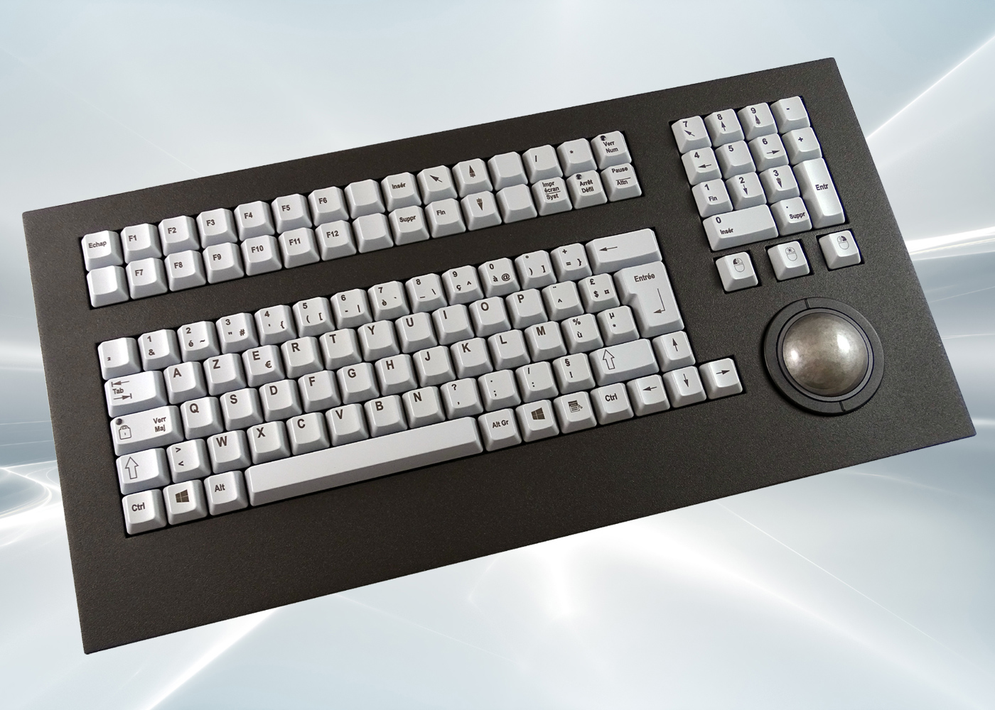 Clavier industriel 105 touches trackball optique laser 50mm