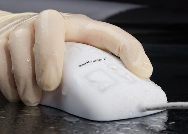 Souris médicale laser lavable blanche étanche IP68