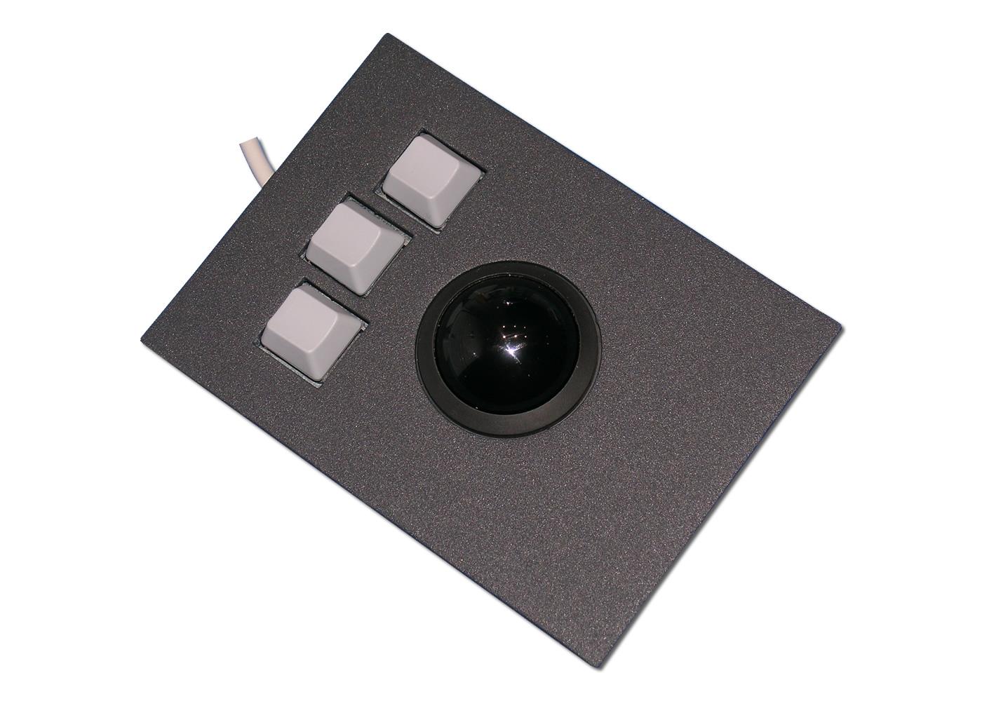 Trackball 38mm industrielle 3 boutons intégrable en panneau par l'avant
