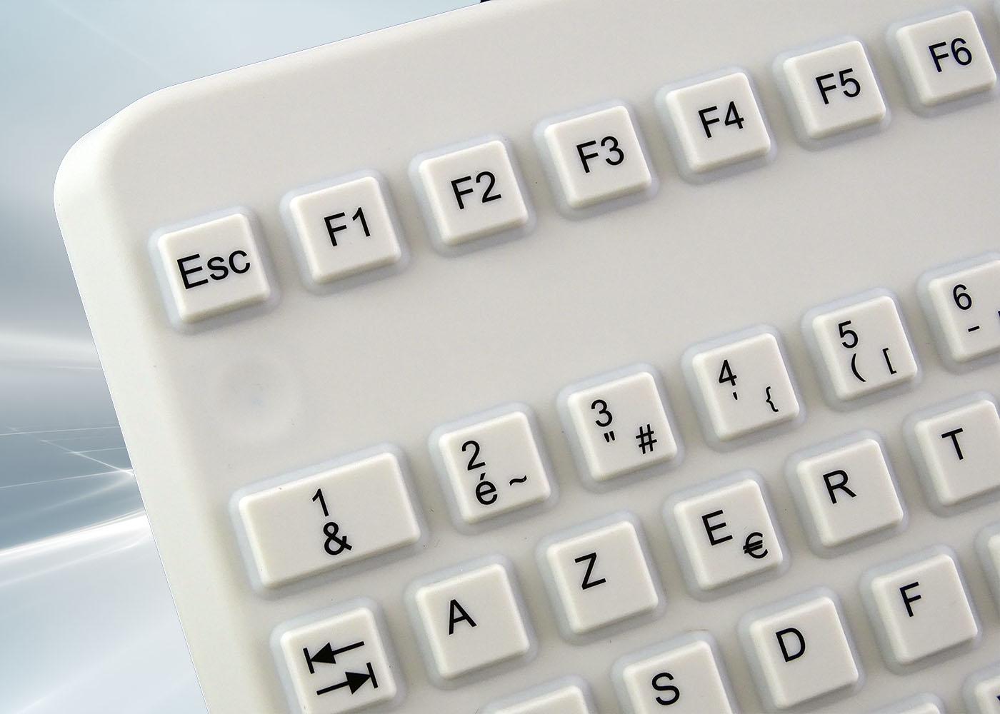 Clavier lavable 104 touches blanc étanche IP68 – Vue détail