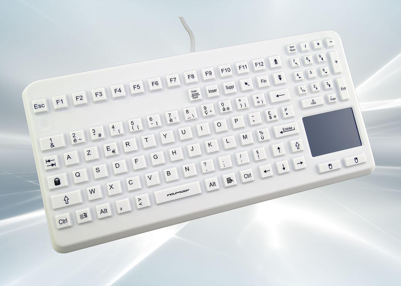 Clavier lavable 104 touches blanc étanche IP68 avec touchpad