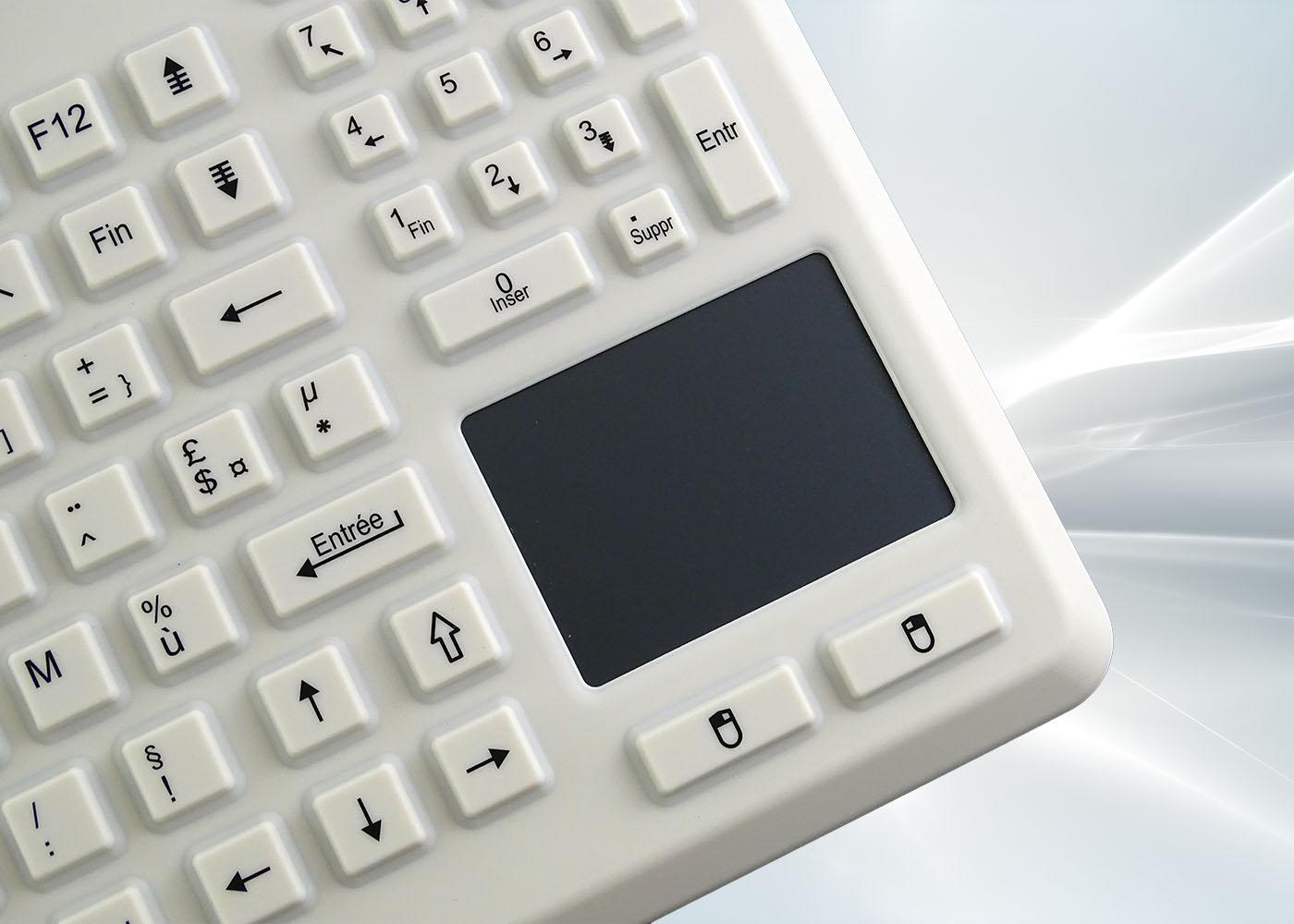 Clavier lavable 104 touches blanc étanche IP68 avec touchpad – Vue touchpad