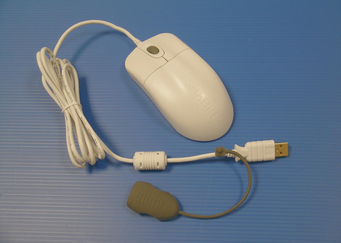 Souris médicale optique nettoyable blanche antibactérienne – connecteur USB avec bouchon étanche