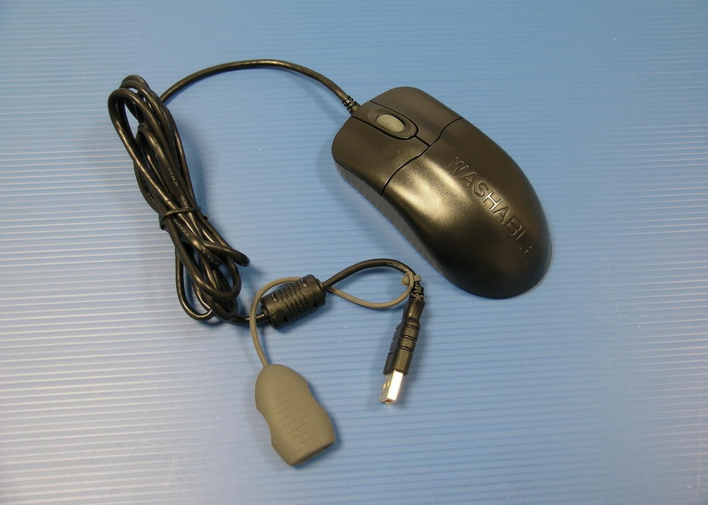 Souris médicale optique nettoyable noire antibactérienne – Connecteur USB avec bouchon étanche