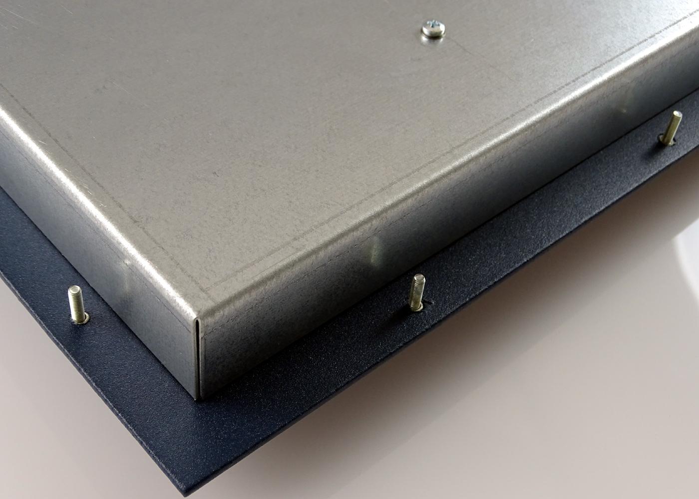 Clavier industriel 105 touches intégrable par l'avant avec trackball 38mm – Détail fixations