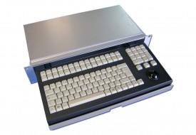 Clavier industriel 105 touches 2U en tiroir 19″ avec trackball 38mm