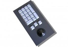 Clavier industriel 17 touches intégrable par l'avant avec trackball 38mm