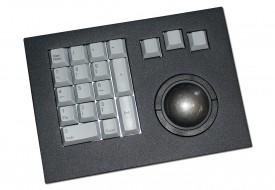 Clavier industriel 17 touches intégrable par l'avant avec trackball 50mm