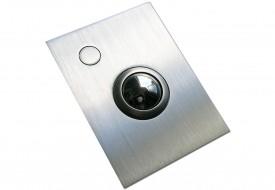 Trackball 38mm industrielle 1 bouton face avant inox intégrable par l'avant