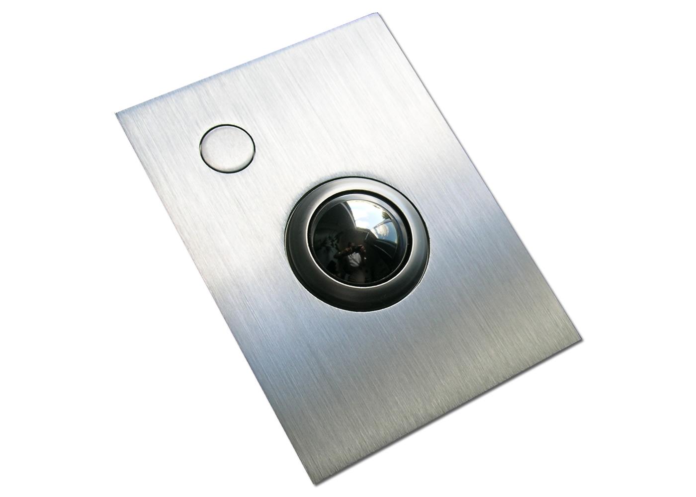 Trackball 38mm industrielle 1 bouton face avant inox intégrable en panneau par l'avant
