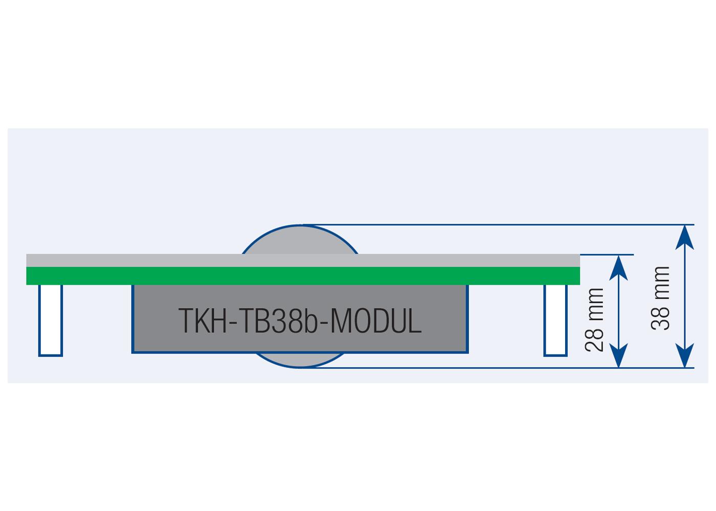 Trackball 38mm industrielle 2 boutons microswitchs intégrable par l'avant – Plan de coté