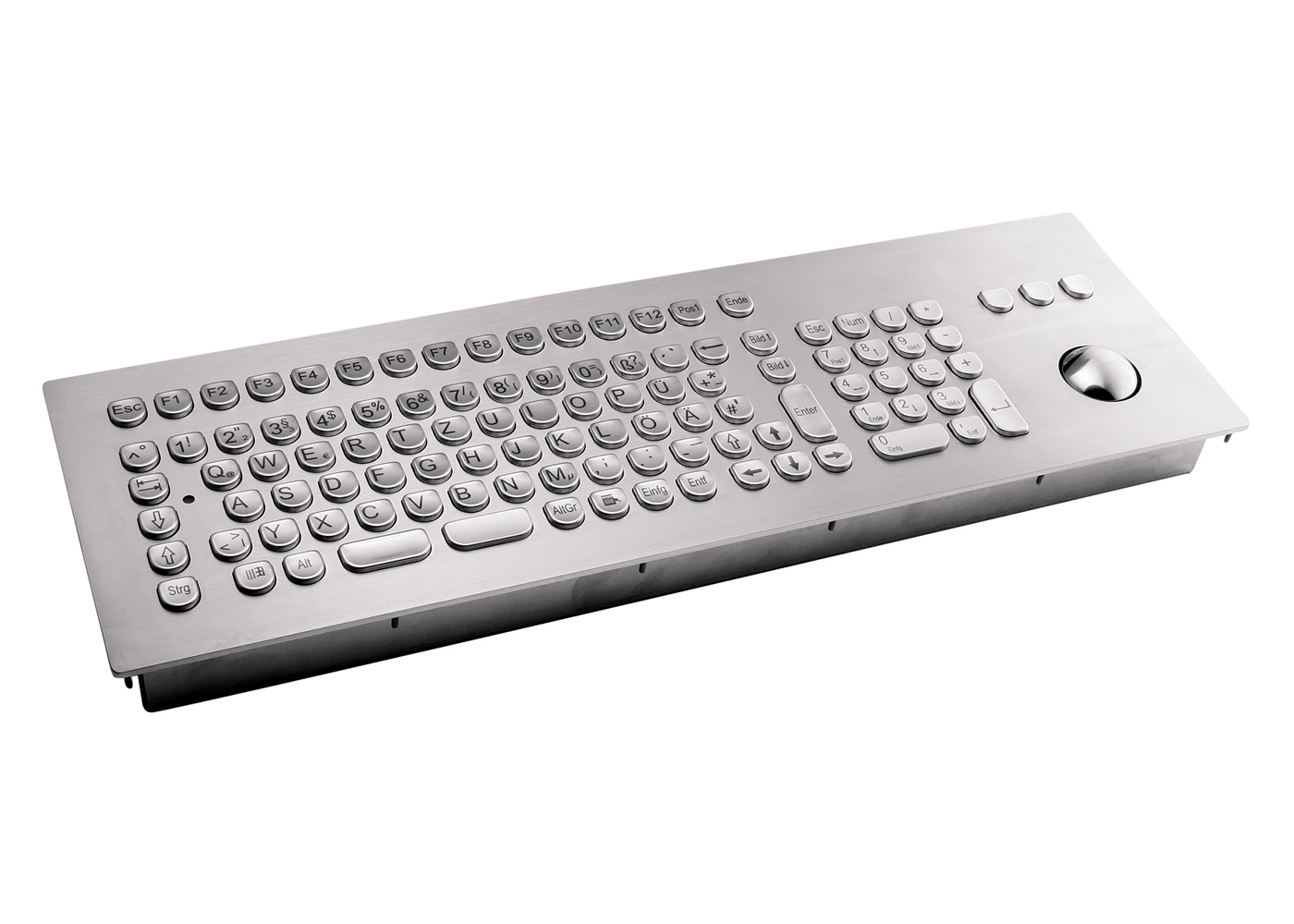 Clavier inox antivandale 105 touches avec trackball 38mm