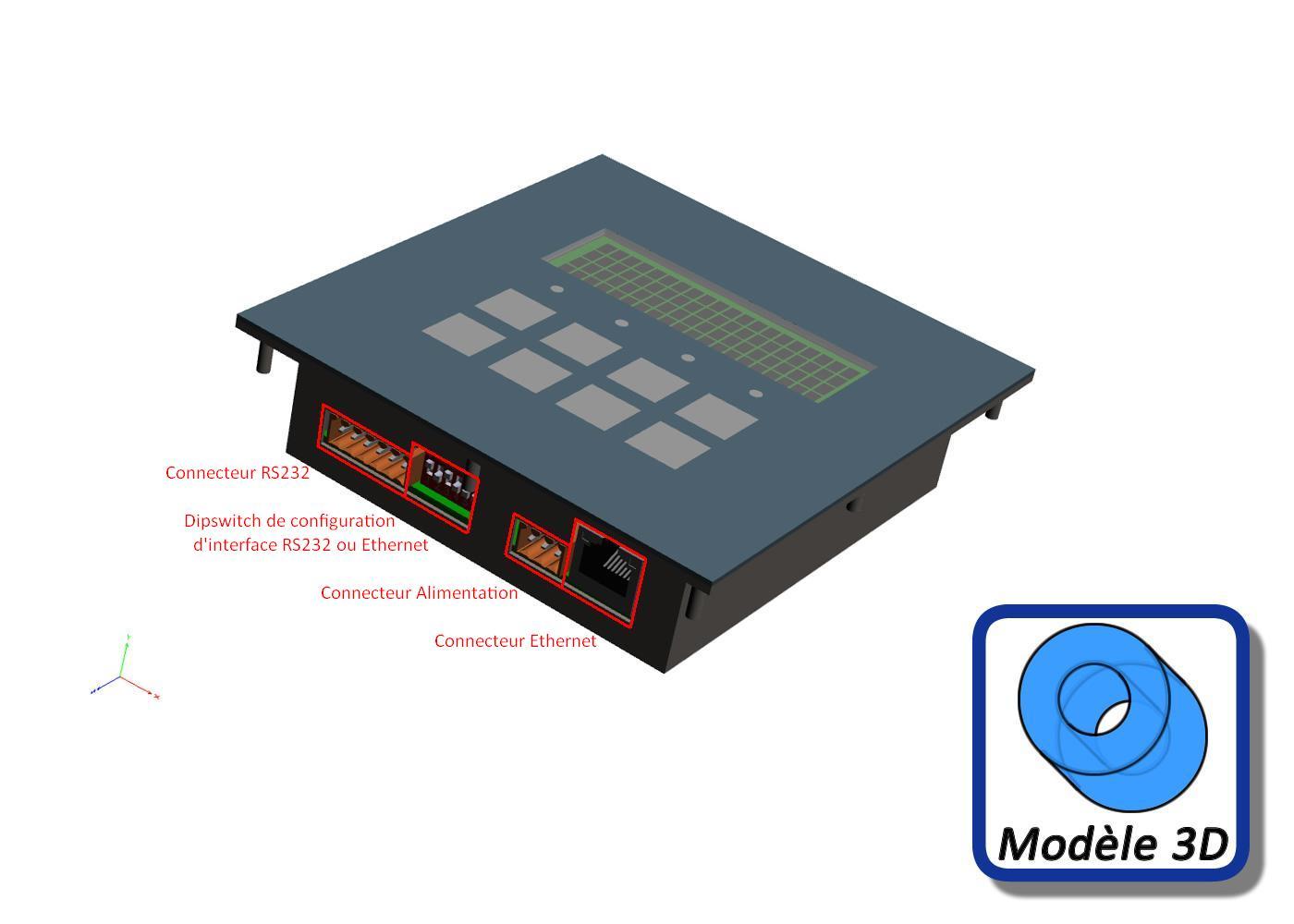 Terminal ASCII industriel 8 touches avec afficheur 4×20 caractères interface configurable RS232 / Ethernet – Type connecteurs