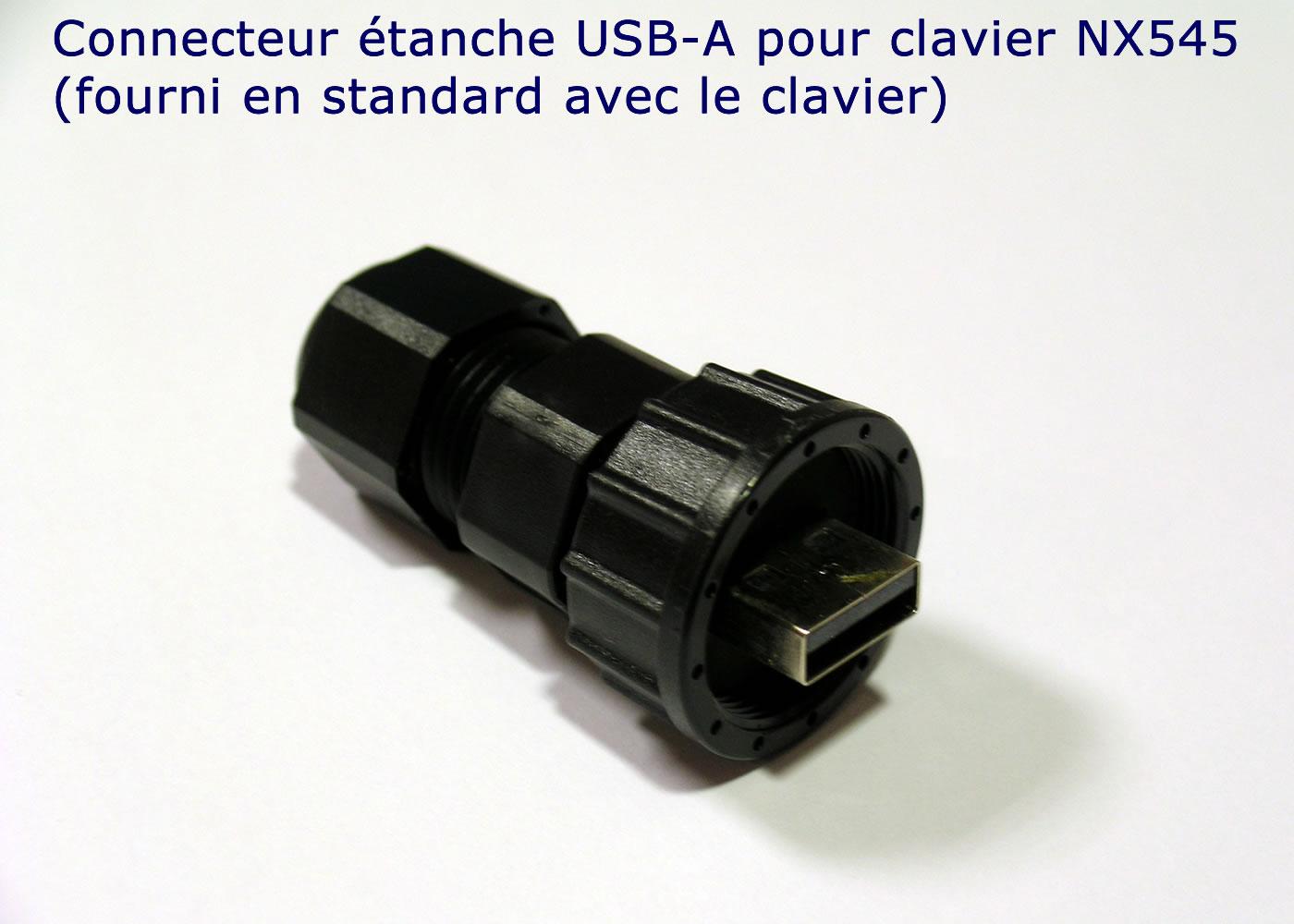 Clavier industriel 17 touches en boitier de table avec hub USB intégré – Connecteur étanche