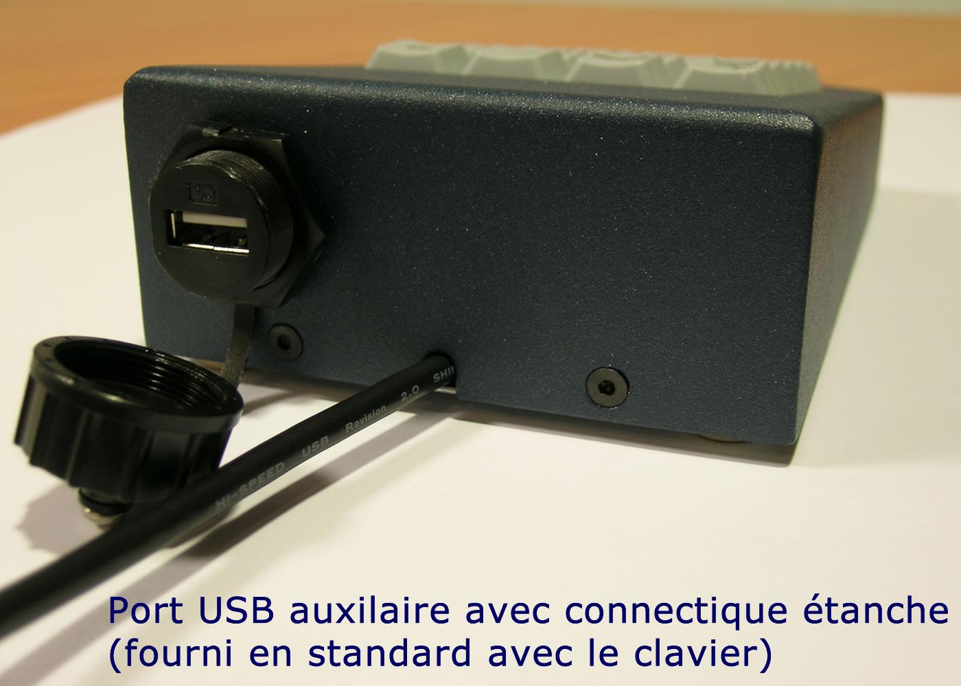 Clavier industriel 17 touches en boitier de table avec hub USB intégré – Port USB auxiliaire
