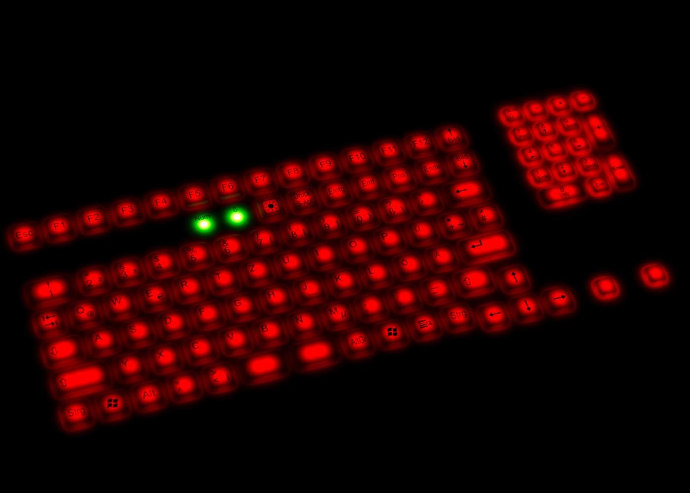 Clavier rétroéclairé lavable 107 touches étanche IP68 avec touchpad – Rétroéclairage rouge