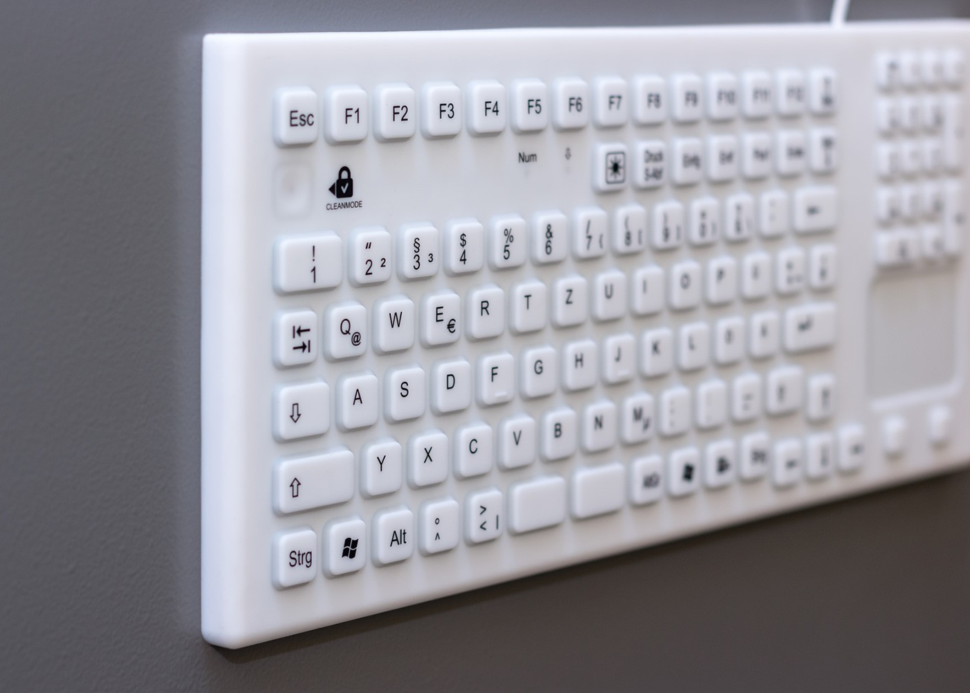Clavier rétroéclairé lavable 107 touches étanche IP68 avec touchpad – Silicone rigide