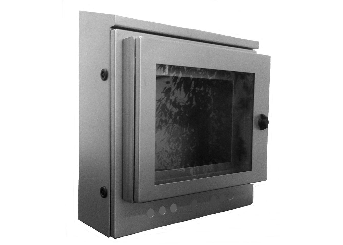 Hublot pour écran LCD – Exemple de montage sur coffret