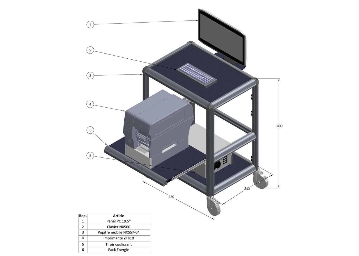 Chariot logistique NX557-04 – Chariot 750 x 540 x 1000 mm – Exemple d'équipement