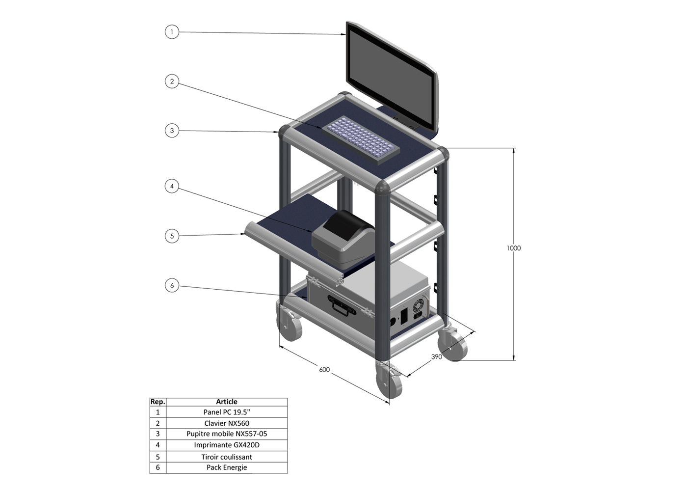 Chariot logistique NX557-05 – Chariot 600 x 390 x 1000 mm – Exemple d'équipement