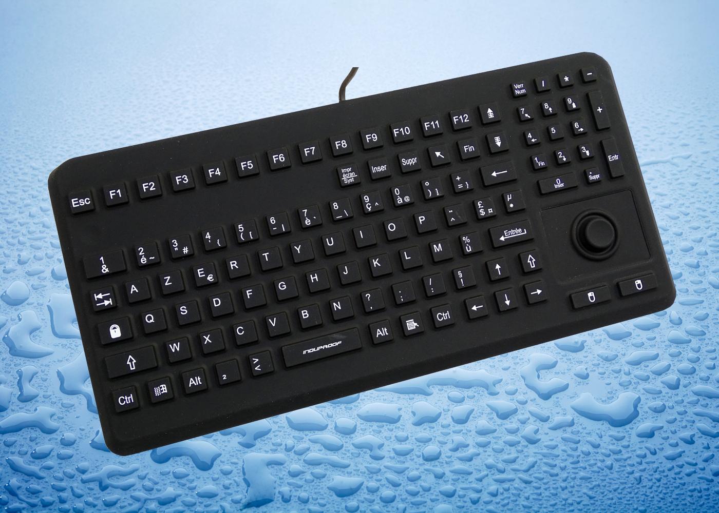 InduProof Advanced – Clavier noir en silicone avec souris bouton