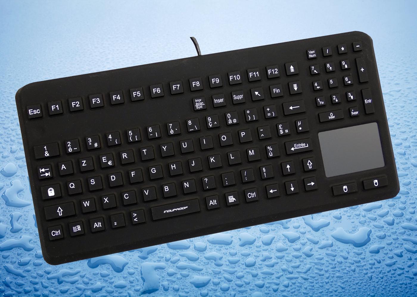 InduProof Advanced – Clavier noir en silicone avec souris touchpad