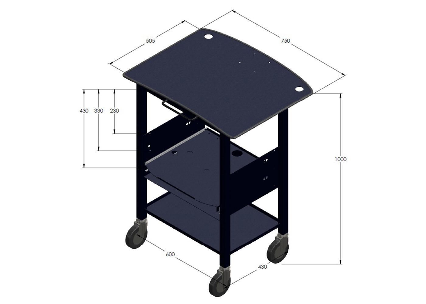 NX557 – Chariot mécano-soudé – Dimensions