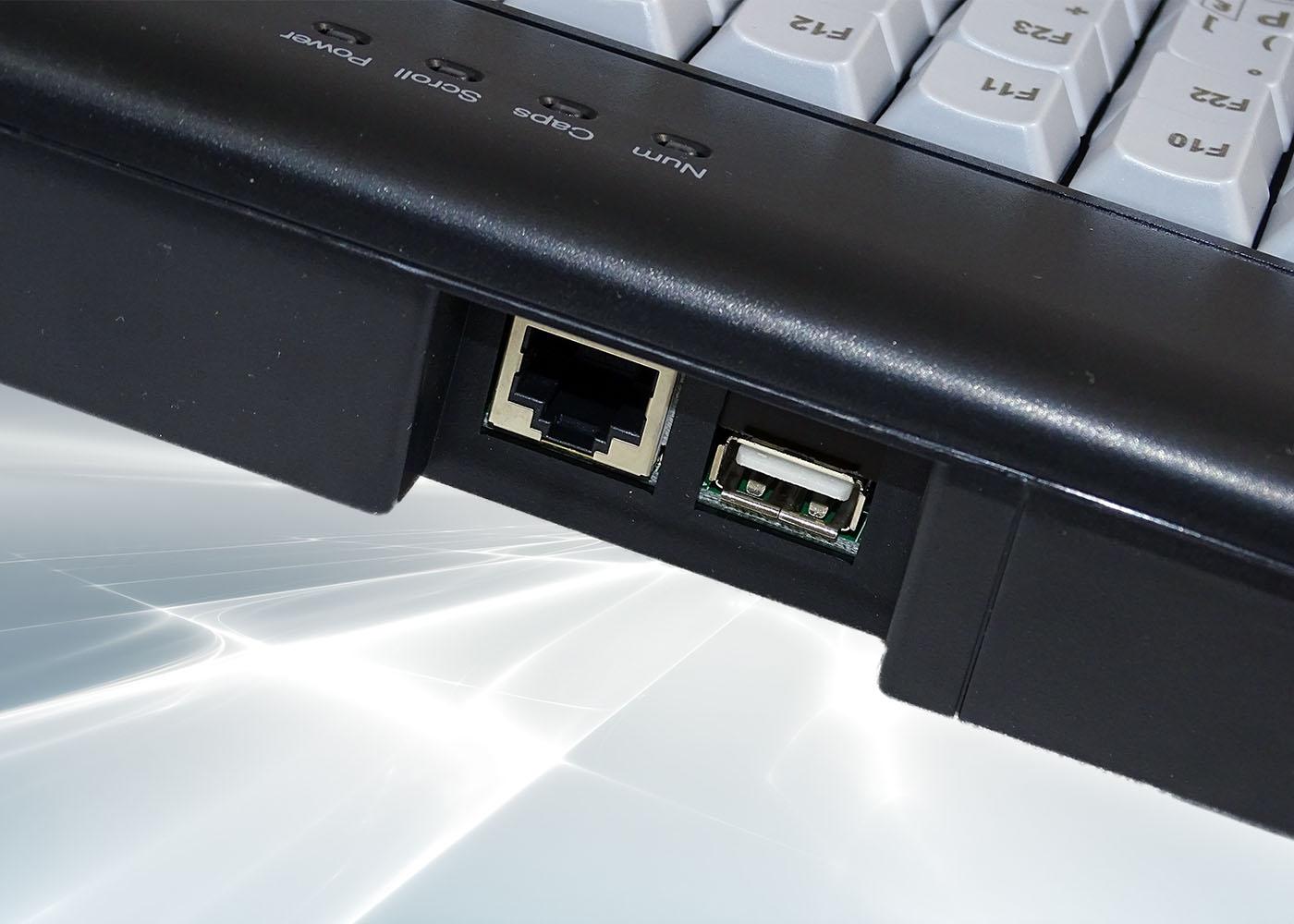 Clavier semi-industriel 112 touches course longue avec hub USB – cordon déconnectable