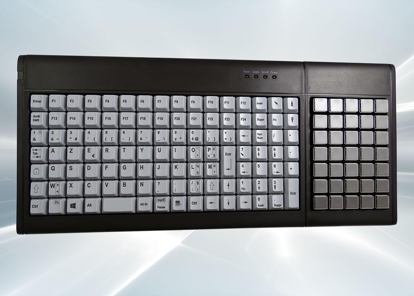 Clavier semi-industriel 147 touches course longue avec hub USB – Vue de dessus