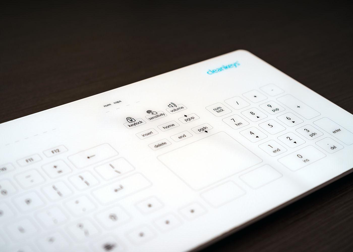 NX6010 : clavier verre tactile capacitif filaire avec touchpad – plan rapproché