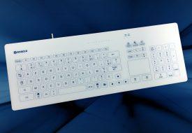 NX6010 : clavier tactile capacitif en verre 103 touches filaire en boîtier de table et souris touchpad (cleankeys CK4)