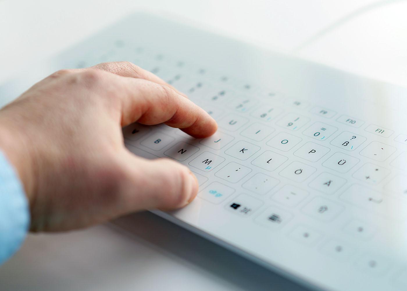 NX6010 : clavier verre tactile capacitif filaire avec touchpad – Saisie rapide