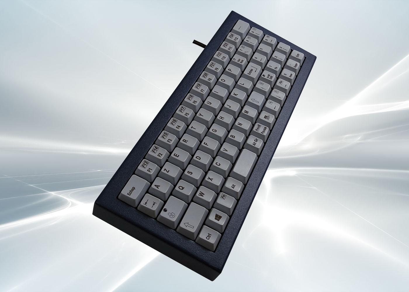 Clavier industriel 71 touches en boitier métallique de table étanche IP54 – Vue profile