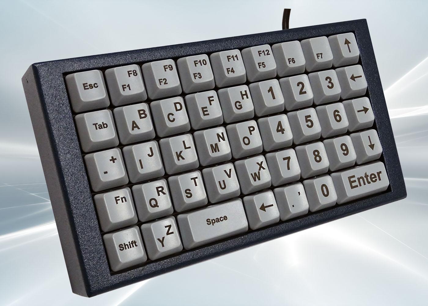 NX518 : clavier industriel compact 43 touches en boitier de table – Détail côté