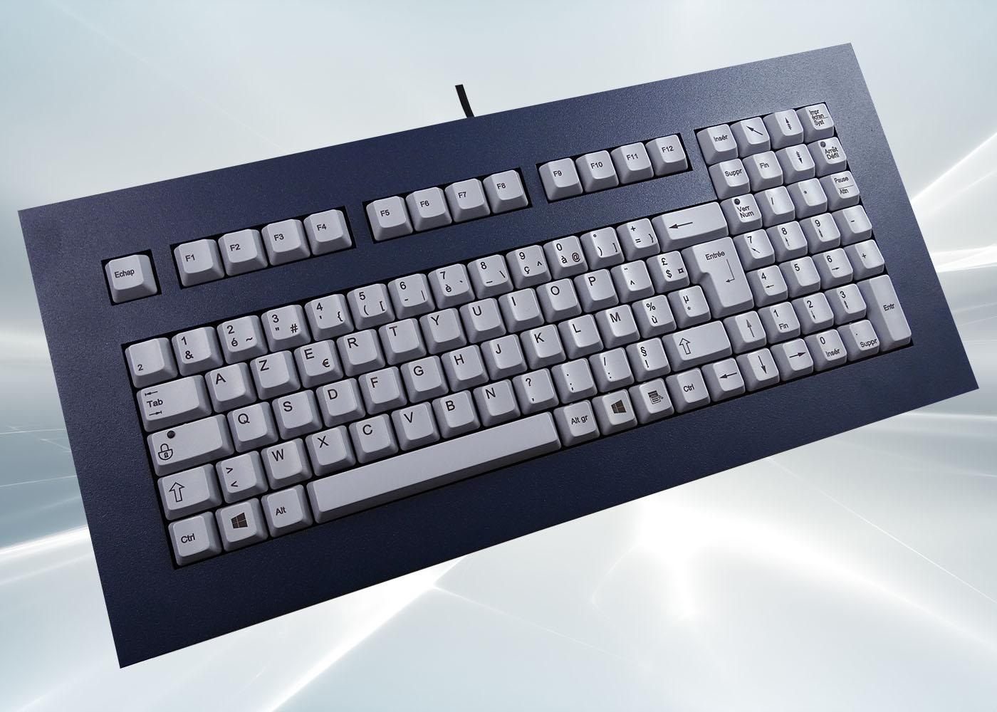 Clavier 105 touches ergonomique haute fiabilité intégrable en panneau par l'avant
