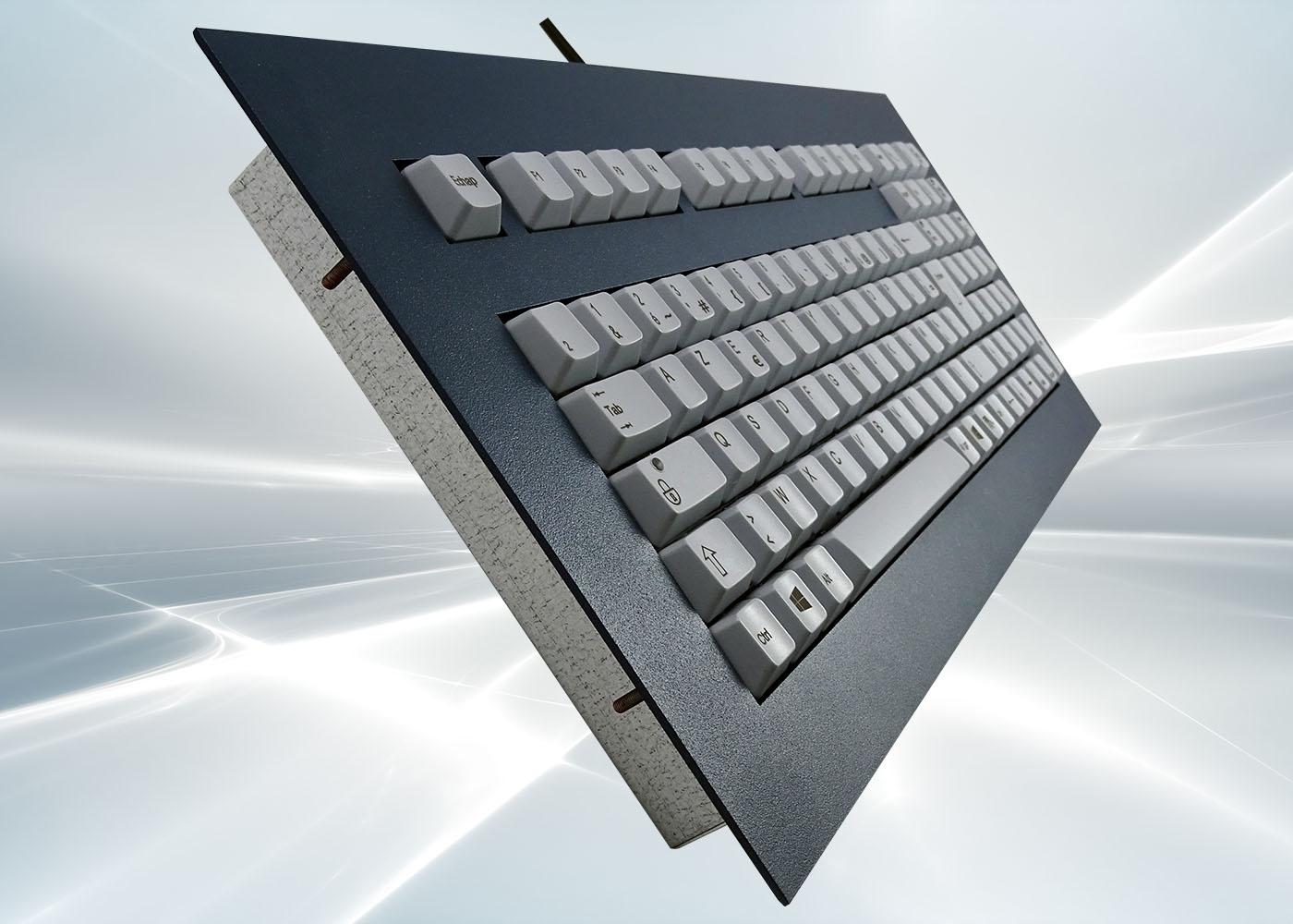 Clavier 105 touches ergonomique haute fiabilité intégrable en panneau par l'avant – détail perspective