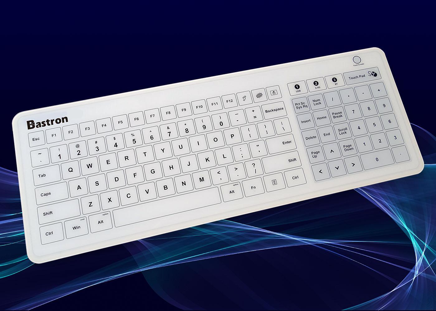 B45 : clavier verre étanche, USB, RF 2,4 Ghz, Bluetooth®