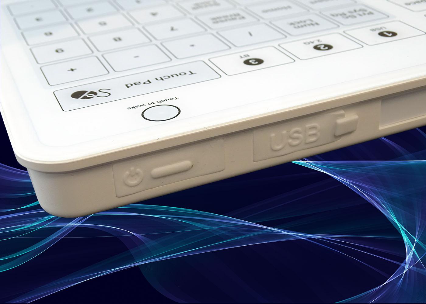 B45 : clavier verre étanche, USB, RF 2,4 Ghz, Bluetooth® – Vue côté connectique