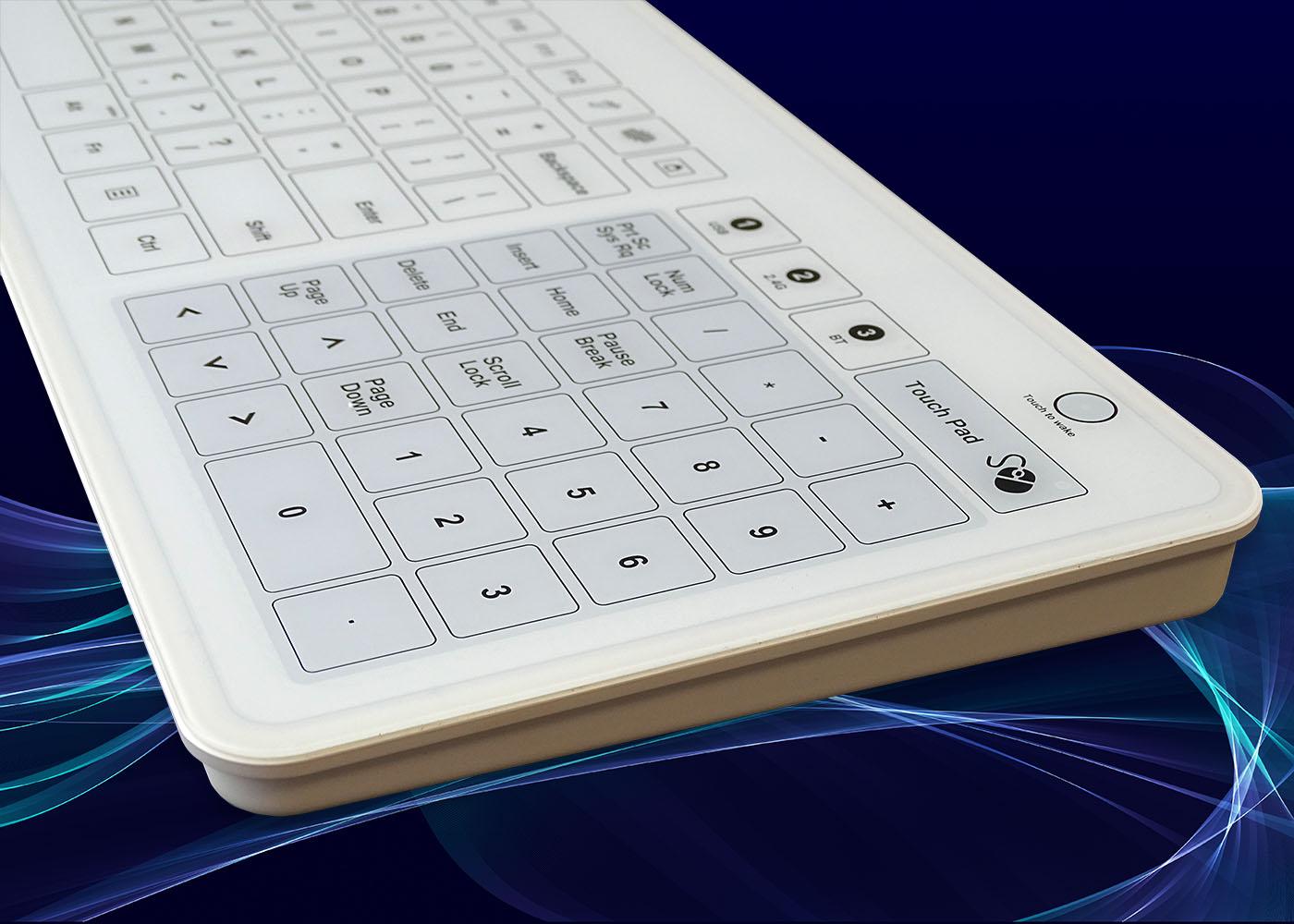 B45 : clavier verre étanche, USB, RF 2,4 Ghz, Bluetooth® – Vue de côté