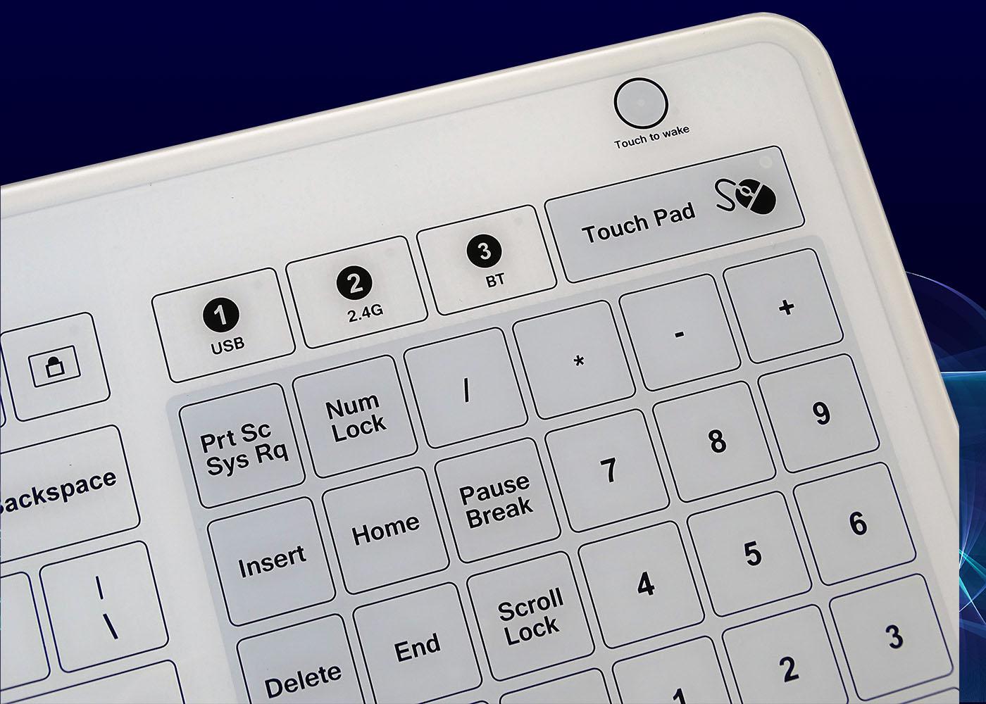B45 : clavier verre étanche, USB, RF 2,4 Ghz, Bluetooth® – Vue touchpad