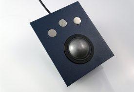 Trackball 50mm 3 boutons inox intégrable en panneau par l'avant