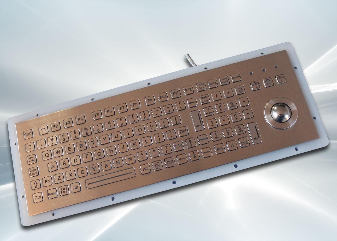 Clavier inox 104 touches rétroéclairé avec trackball 25mm – rétroéclairage coupé
