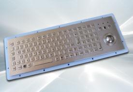 Clavier inox 104 touches avec trackball 25mm intégrable par l'arrière