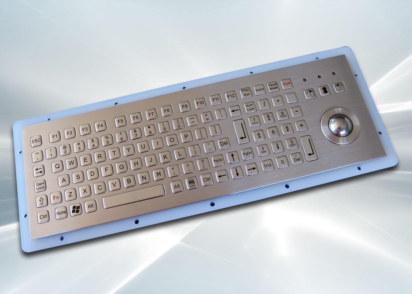 Clavier inox 104 touches avec trackball 25mm – vue d'ensemble
