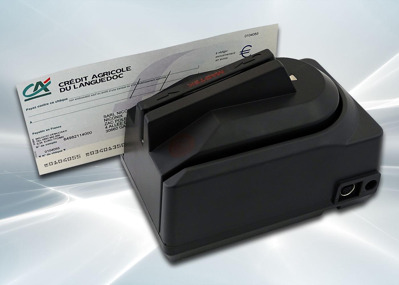 Lecteur de chèques CMC7 avec lecteur de cartes – Lecture magnétique de la piste CMC7