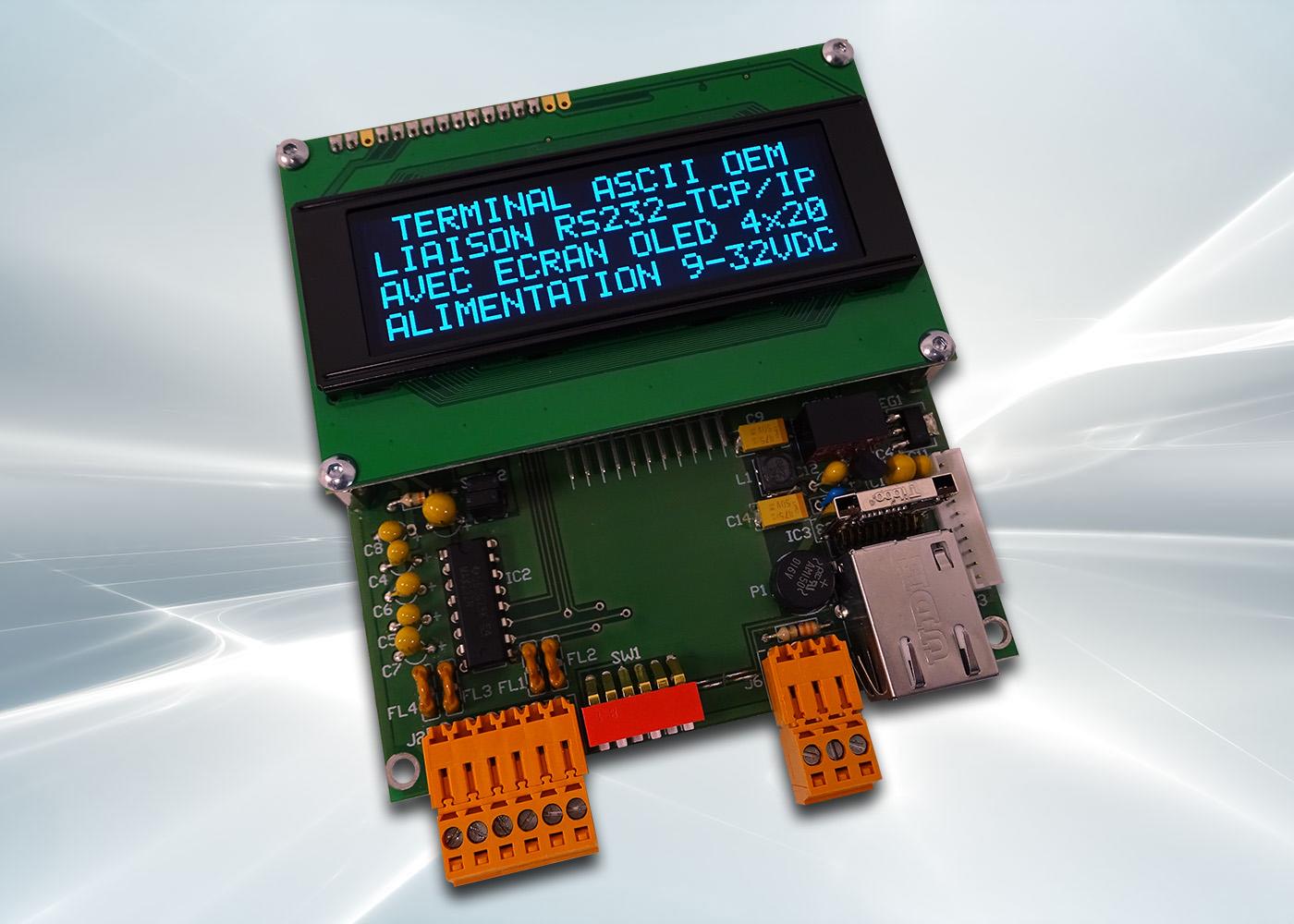 Terminal ASCII OEM RS232 / Ethernet avec afficheur OLED et gestion de 8 touches et 4 LEDs – Afficheur OLED bleu