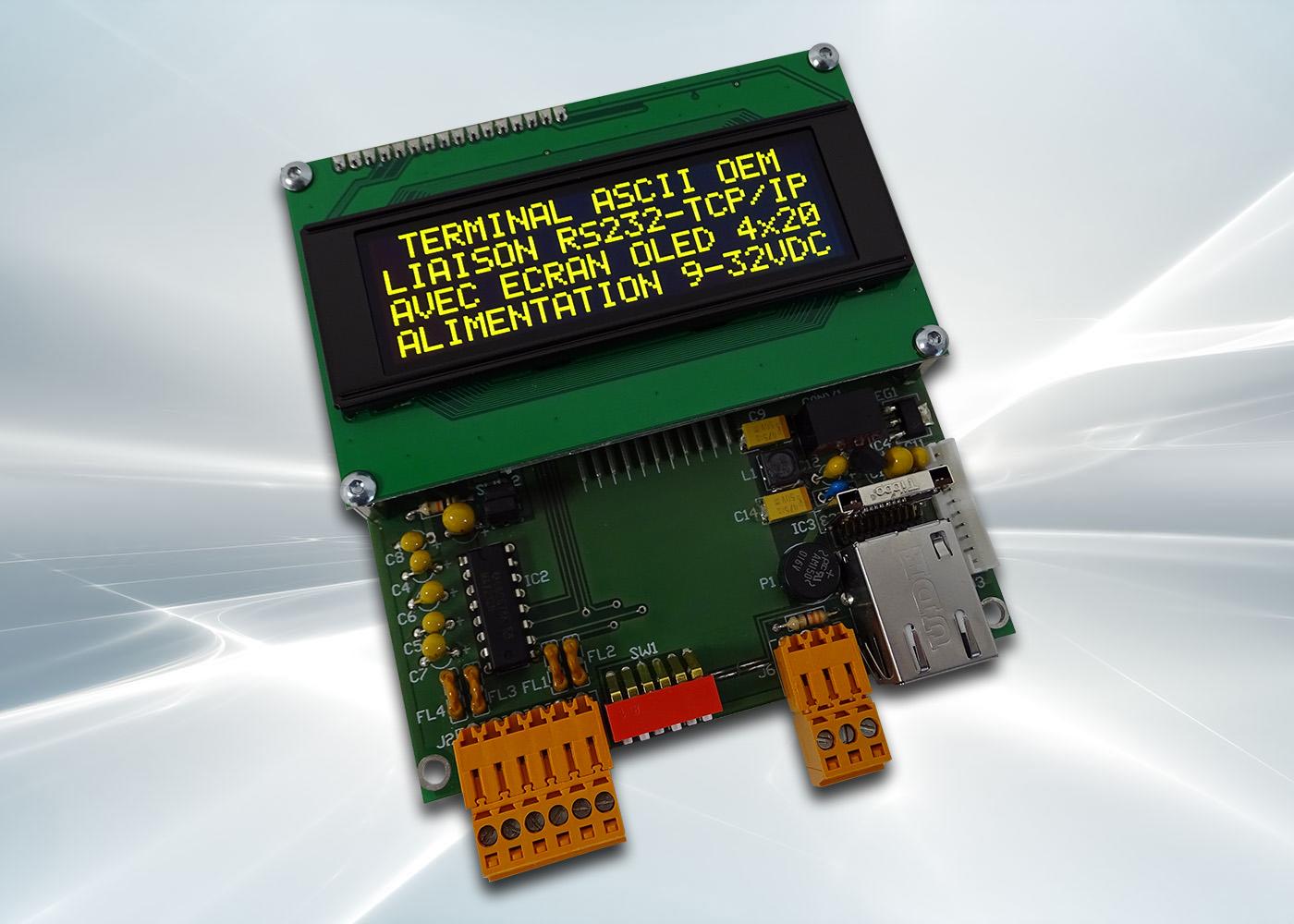 Terminal ASCII OEM RS232 / Ethernet avec afficheur OLED et gestion de 8 touches et 4 LEDs – Afficheur OLED jaune