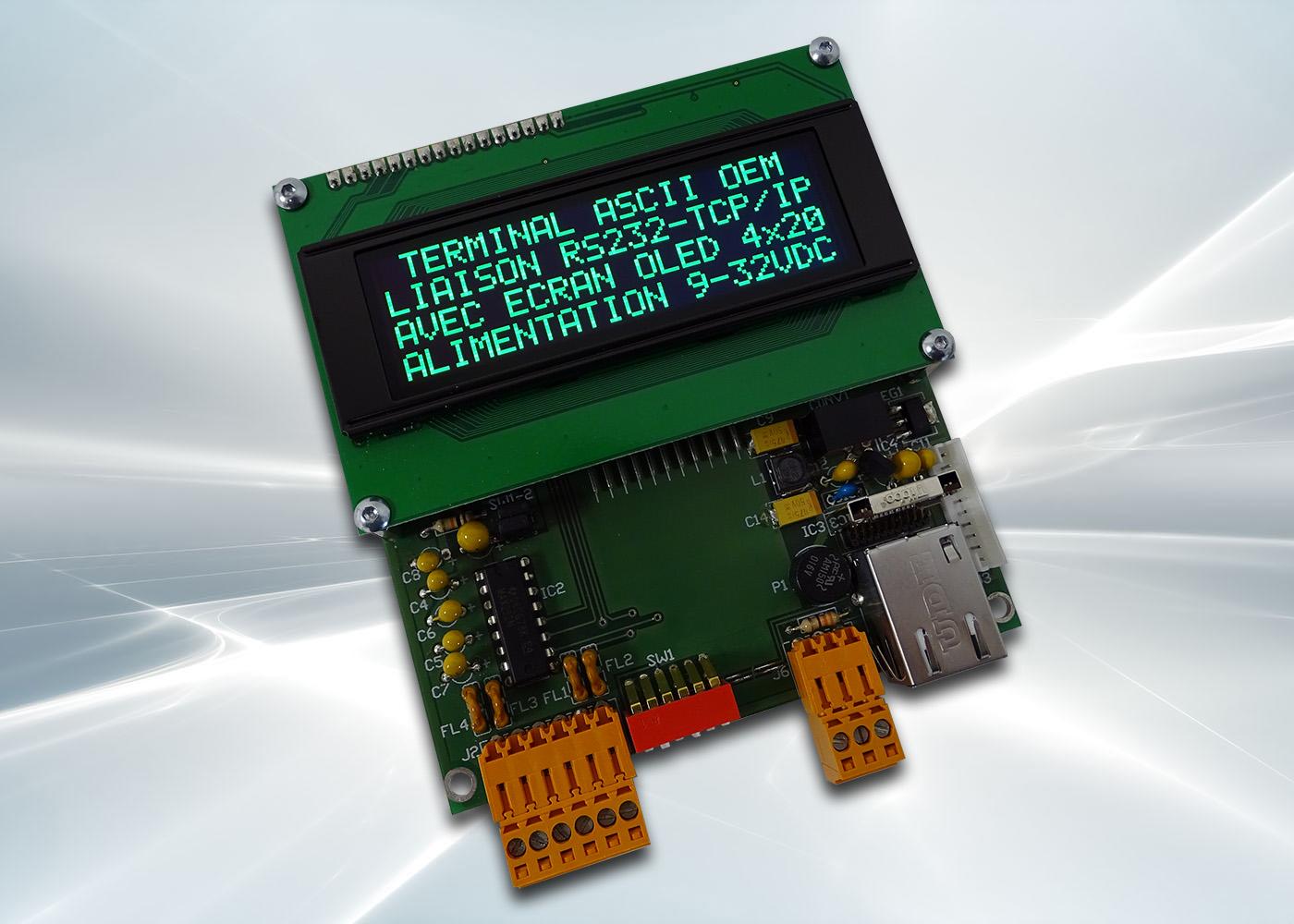 Terminal ASCII OEM RS232 / Ethernet avec afficheur OLED et gestion de 8 touches et 4 LEDs – Afficheur OLED vert