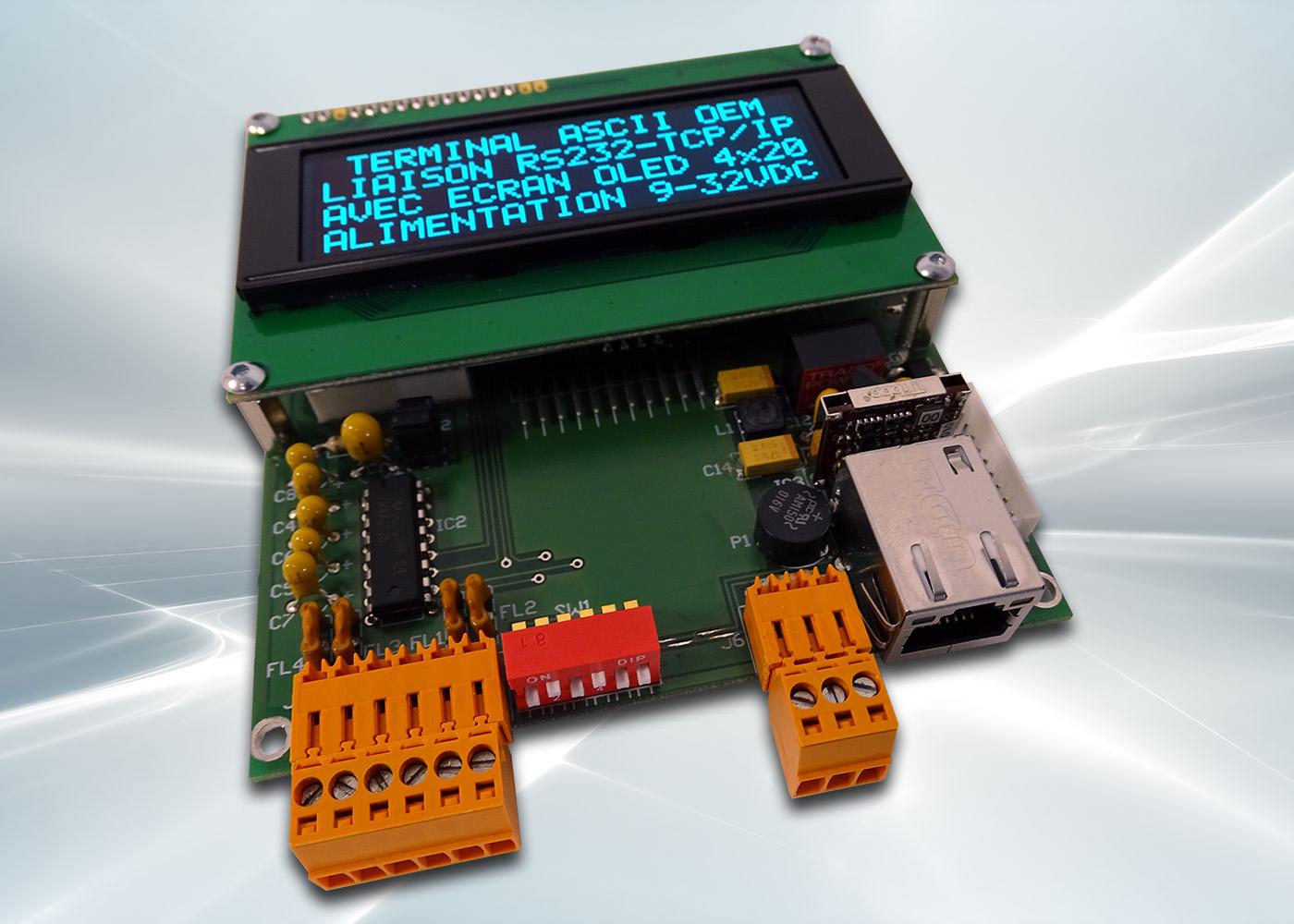 Terminal ASCII OEM RS232 / Ethernet avec afficheur OLED et gestion de 8 touches et 4 LEDs – Connectiques