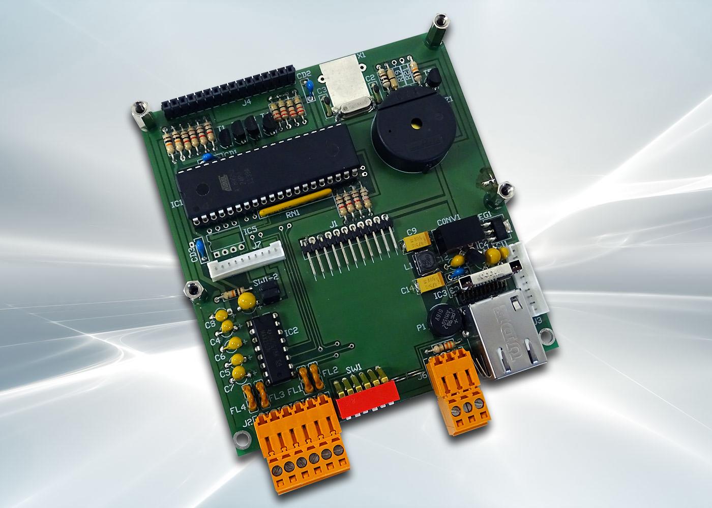 Terminal ASCII OEM RS232 / Ethernet avec afficheur OLED et gestion de 8 touches et 4 LEDs – Carte électronique de gestion